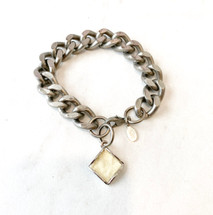 Links Bracelet With Leather Inlay Drop - LAST ONE!