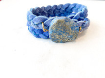 Semi Precious Stone Leather Wrap Bracelet - LAST ONE EVER!