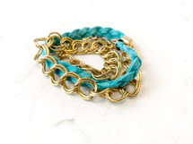 Chain Links Leather Wrap Bracelet