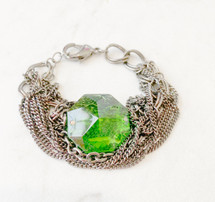 Green Glass Chains Bracelet - LAST ONE!