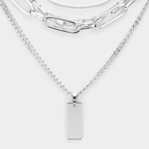 Metal Bar Pendant Chain Necklace - Silver: ONLY ONE!