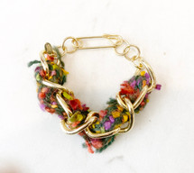 Chain Gold Links With Tweed Bracelet: ONLY ONE!