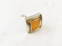 Gold/Orange Stingray Leather Inlay Ring