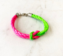 Two Tone Knotted Bracelet: Pink/Green