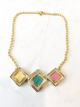 Colorful Leather Inlay Necklace: LAST ONE!