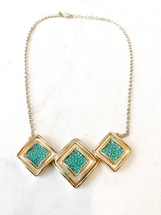 Turquoise/Gold Leather Inlay Necklace: LAST ONE!