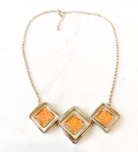Leather Inlay Gold/Orange Necklace: ONLY ONE!