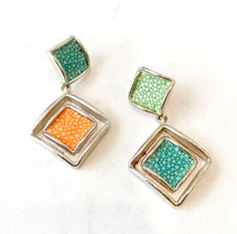 Multi Color Leather Inlay Drop Earrings: ONLY PAIR!