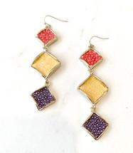 Multi Color Triple Drop Earrings: ONLY PAIR!