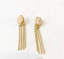 Druzy Fringe Drop Earrings: ONLY PAIR!