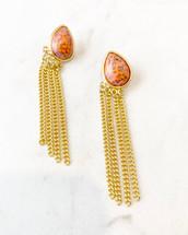 Stone Fringed Earrings: LAST PAIR!