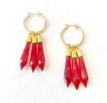 Stone Hoop Drop Earrings: ONLY PAIR EVER!