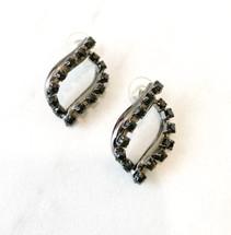 Gunmetal/Black Crystal Link Earrings (Sterling posts) : LAST PAIR!