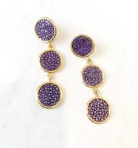 Triple Stingray Leather Drop Earrings: Purple: LAST PAIR EVER!