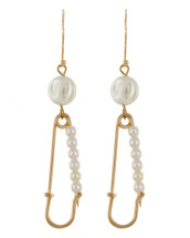 Pearl Safety Pin Earrings: Gold Or Silver