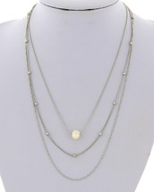Three Layered Necklace With Pearl