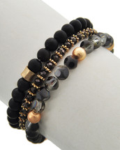 Black Semi Precious Bracelet Set/Stack