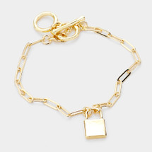Paperclip Chain Toggle Lock Bracelet: Gold Or Silver