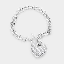Pave Crystal Heart Toggle Bracelet: Gold Or Silver