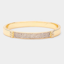 Pave Rectangle Hinged Bracelet: Gold Or Silver