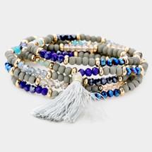 Beaded Tassel Wrap Bracelet/Necklace: Blue Tones
