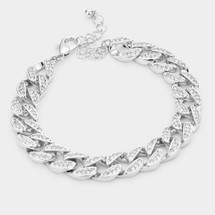Pave Links Bracelet: Gold Or Silver