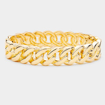 Classic Chain Link Hinged Bracelet: Gold Or Silver