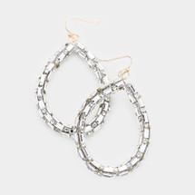 Rectangular Stone Teardrop Earrings: Gold Or Silver