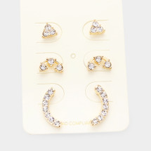 Little Crystal Stud Earring Set: Gold Or Silver