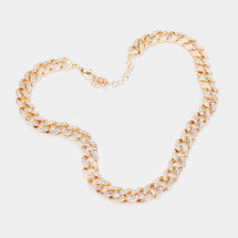 Crystal Pave Embellished Chain Necklace: Gold Or Silver
