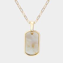 Natural Amazonite Tab Pendant Necklace