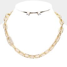 Embellished Link Necklace: Gold Or Silver