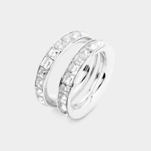 Crystal Bands Ring Set - Clear/Silver