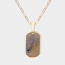 Semi Precious Stone Tab Pendant Necklace