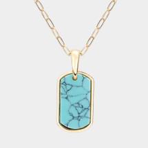 Turquoise Semi Precious Tab Pendant Necklace