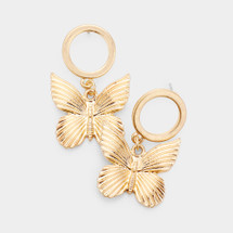 Textured Butterfly Circle Drop Hoops: Gold oR Silver
