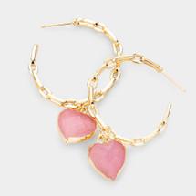 Chain Link Heart Hoop Earrings - Pink