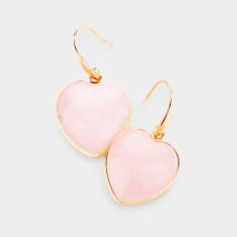 Natural Stone Heart drop Earrings - Pink