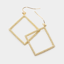 Textured Square Dangle Earrings: Gold Or Silver