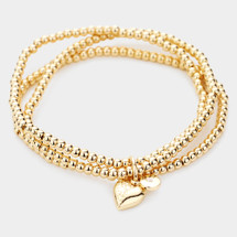 Stretchy Heart ball Bracelet: Gold Or Silver