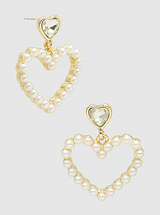 Pearl Heart Dangle Drop Earrings: ALMOST GONE!