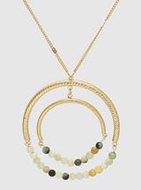 Semi Precious Long Round Pendant Necklace