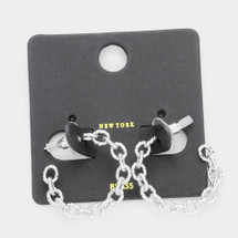 Textured Chain Link Earrings: Gold Or Silver
