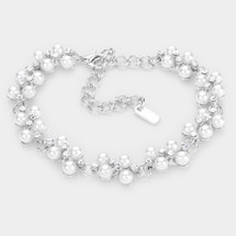 Pearl Crytal Bracelet: Gold Or Silver