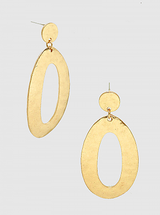 Hammered Metal Curved Oval Earrings