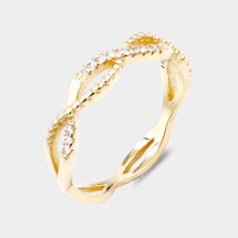 Braided Pave Ring: Gold