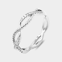 Braided Pave Ring: Silver