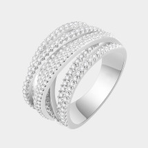 Pave Layered Ring: Silver