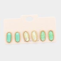 Mint Hexagon Stud Earring Set