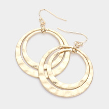 Hammered Layered Hoop Earrings: Gold Or Silver